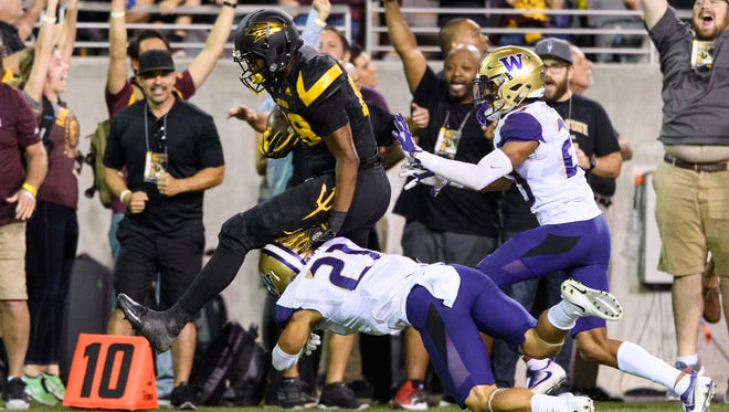Arizona State's Ceejhay French-Love runs with the ball after a fourth-down conversion in the fourth quarter against Washington on Saturday, Oct. 14, 2017, at Sun Devil Stadium in Tempe.