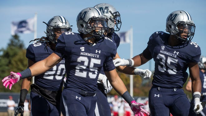 Monmouth's Pete Guerriero celebrates a touchdown. The Liberty Flames vs Monmouth Hawks football. West Long Branch, NJSaturday, October 21, 2017@dhoodhood