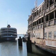 The 112-year-old SS Columbia, one of the beloved but battered Boblo boats, leaves Detroit for what is likely the last time Sept. 16, 2014. The vessel was towed down the Detroit River to Toledo for repairs and maintenance in anticipation of being returned to service in the Hudson River Valley in New York. Dan Austin/HistoricDetroit.org