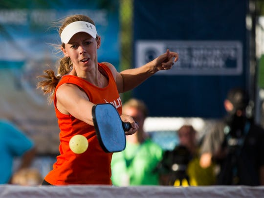 Corinne Carr hits the ball across the court during the Women's Doubles Pro Gold match of the U.S. Open Pickleball Championship at the East Naples Community Park in East Naples on Saturday, April 29, 2017. Carr and her partner, Simone Jardin, won the title.