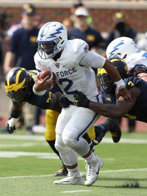 Michigan's Rashan Gary sacks Air Force's Arion Worthman during the second quarter Saturday, Sept. 16, 2017 at Michigan Stadium.