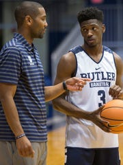 Butler coach LaVall Jordan, left, wants sophomore Kamar Baldwin and the other Bulldogs to pick up the pace.