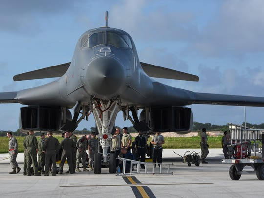 A U.S. Air Force B-1B Lancer assigned to the 9th Expeditionary Bomb Squadron, deployed from Dyess Air Force Base, Texas, is shown in this Feb. 6, 2017, file photo at Andersen Air Force Base.