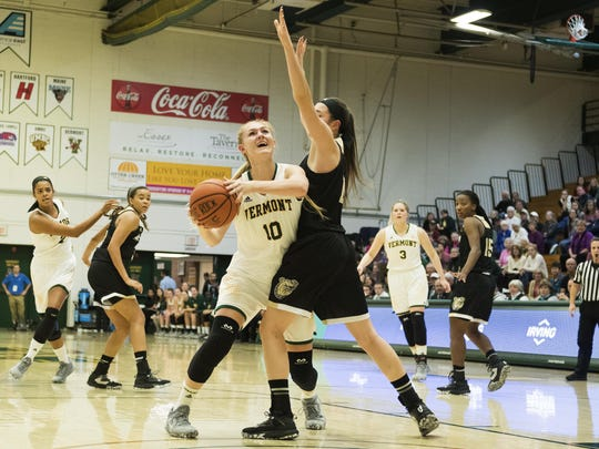 Freshman forward Hanna Crymble (10) and the University of Vermont women's basketball team meet Albany in the America East quarterfinals in Maine. Cymble was named to the league's all-rookie team on Friday.