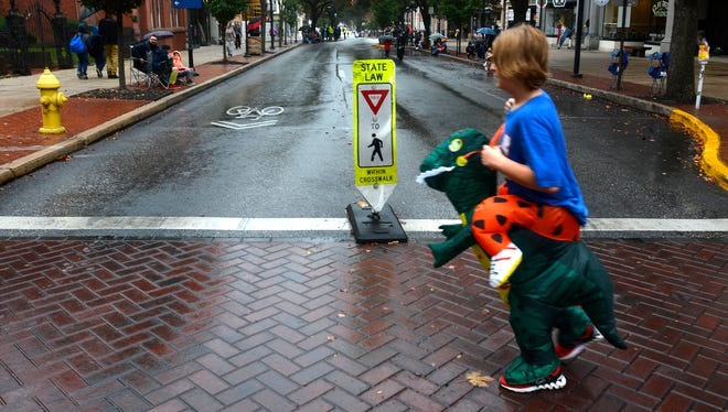 Dinosaur crossing? York Halloween Parade, Sunday, Oct. 29, 2017. John A. Pavoncello photo