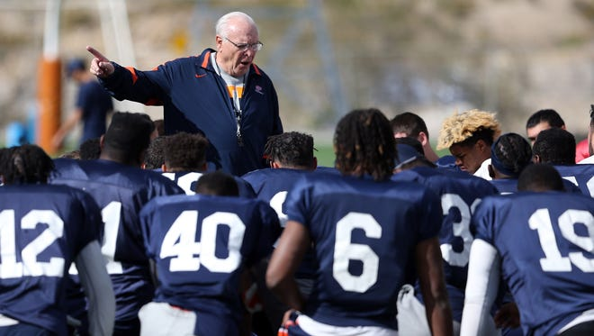 UTEP interim head coach Mike Price talks to the team at the end of Tuesday's practice at Glory Field.
