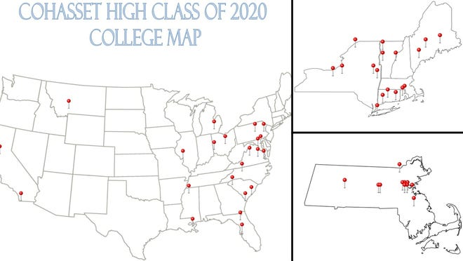 99 Cohasset seniors have announced plans to attend 54 different universities for college.