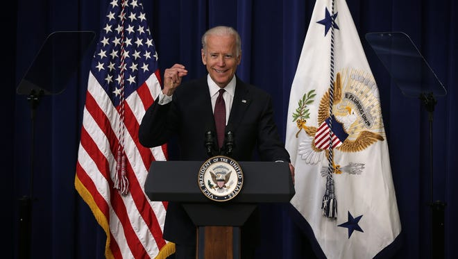 Vice President Biden speaks during a White House Clean Energy Investment Summit June 16, 2015 in the Eisenhower Executive Office Building in Washington, DC. The White House held the summit to announce commitments from organizations to fight climate change and new executive actions to encourage private-sector investments in clean energy innovation.