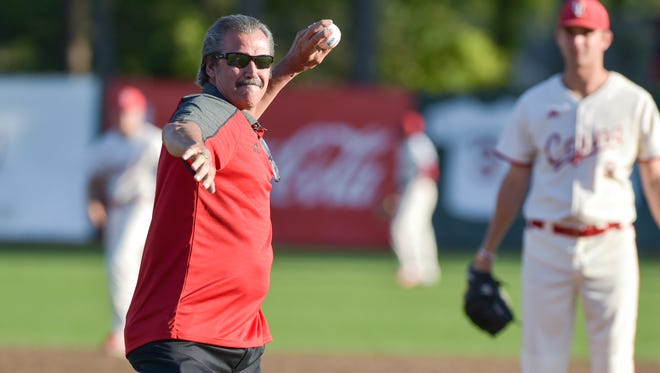 """Former UL and New York Yankees pitcher Ron Guidry throws out the first pitch as the Cajuns take on Appalachian State on Friday night during """"Ron Guidry Weekend"""" at The Tigue."""