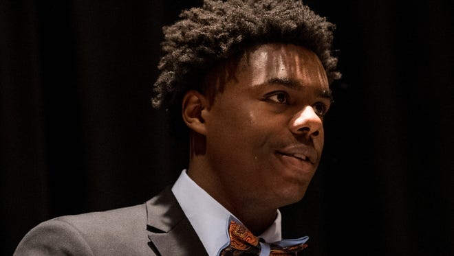 Kobe Brown, of Lee-Huntsville, is named the 5A Player of the Year during the annual Alabama Sport Writers Association Mr. and Miss Basketball Banquet in Montgomery, Ala. on Tuesday April 10, 2018.