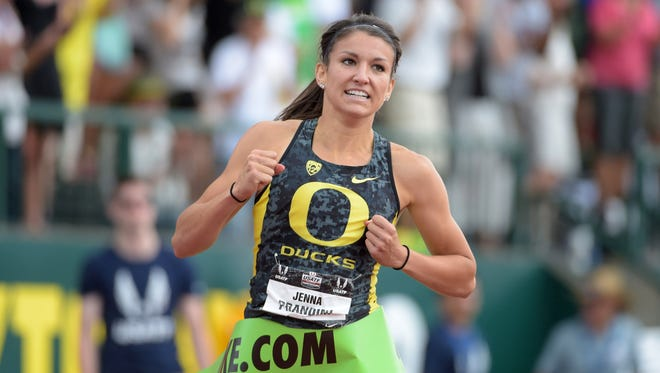 Jun 28, 2015; Eugene, OR, USA; Jenna Prandini of Oregon celebrates after winning the womens 200m in 22.20 in the 2015 USA Championships at  Hayward Field.  Mandatory Credit: Kirby Lee-USA TODAY Sports