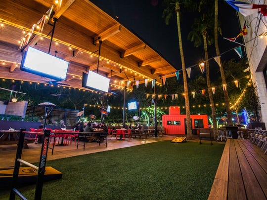 Games and plentiful seating are available at Pedal Haus' spacious patio.
