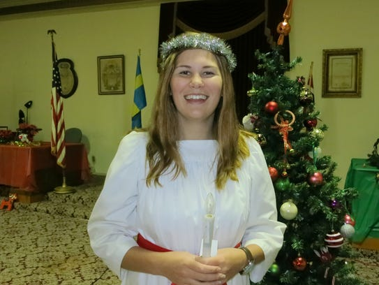 Fanny Govik of Redding attends the Santa Lucia Festival