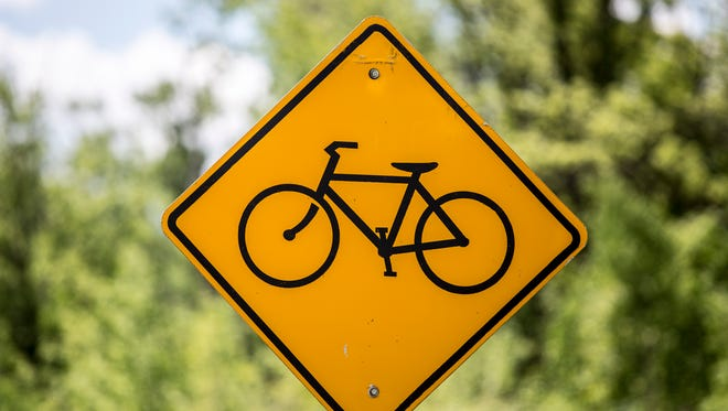 A bike sign pictured in Kimball Township. The St. Clair County Road Commission is using a $159,594 grant to construct a bike path along Gratiot Avenue in Kimball Township just west of the boundary with Marysville. The new path will extend from the MDOT parking lot on Gratiot to Pickford road. Long-term plans are to extend a bike lane along Gratiot and Division to connect to the Macomb Orchard Trail in Richmond.