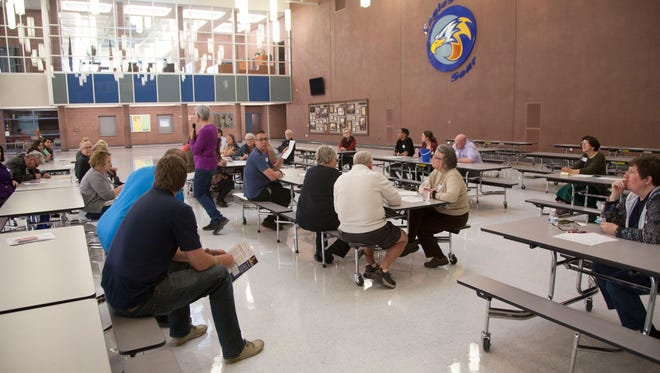 Democrats caucus at Dixie Middle School in St. George on Tuesday, March 20, 2018.