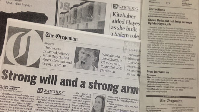Photo of a copy of the Oregonian covers from April 5, 2015 and April 8, 2015 along with the correction published Sept. 9, 2015.