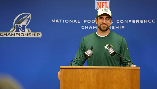 Packers quarterback Aaron Rodgers played it cool during a press conference Wednesday when asked about his calf injury.