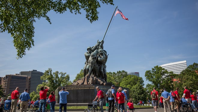 Veterans visit the Iwo Jima Memorial during an Old Glory Honor Flight Mission to Washington, D.C.