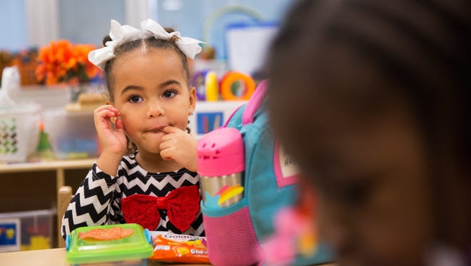 Kristen Hayes waits to have lunch in her prekindergarten class at School 33 on Friday, January 8, 2016.