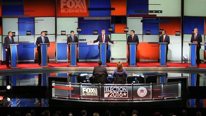 Republican presidential candidates participate in the Republican presidential debate.