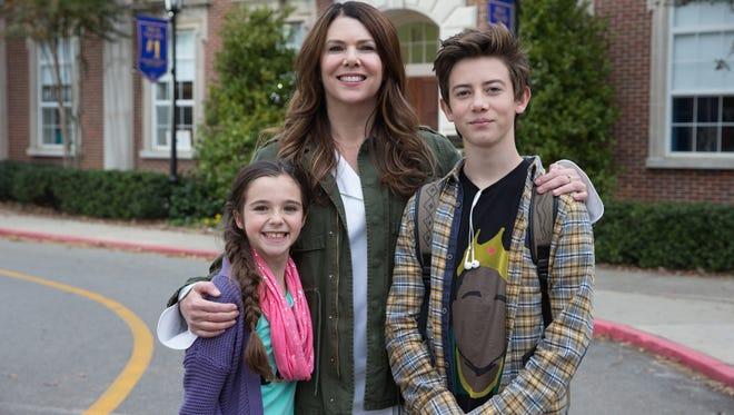 Georgia (Alexa Nisenson, left), Jules (Lauren Graham) and Rafe Khatchadorian (Griffin Gluck) attempt to start fresh in 'Middle School: The Worst Years of My Life.'