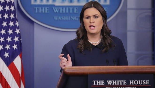 Sarah Huckabee Sanders, secretaria de prensa e la Casa Blanca.