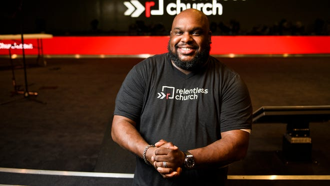 Pastor John Gray of Relentless poses for a portrait on Wednesday, May 9, 2018.