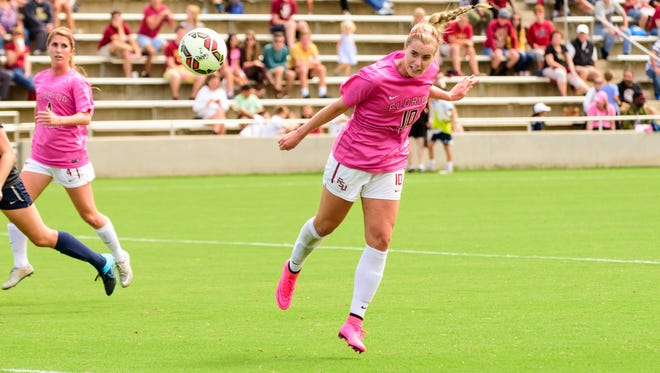 Berglind Thorvaldsdottir (10) heads the ball for the final goal of the game in the last 10 seconds during the Saturday, October 3, 2015 6-0 FSU victory against Pittsburgh at the Seminole Soccer Complex in Tallahassee, FL.