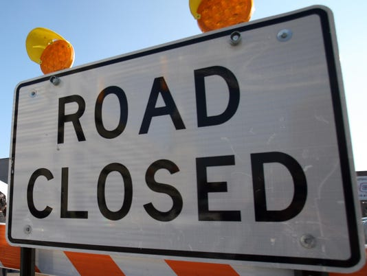 Generic road closed sign construction detour