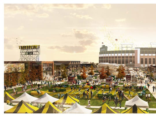 An artist's rendering shows a fall scene in the Titletown