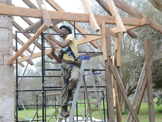 """ANI African House Kevin Kurtz is part of the HOPE Crew (""""Hands-On Preservation Experience"""" Crew), that is working to repair the African House at Melrose Plantation. The National Trust for Historic Preservation named the African House at Melrose Plantation"""