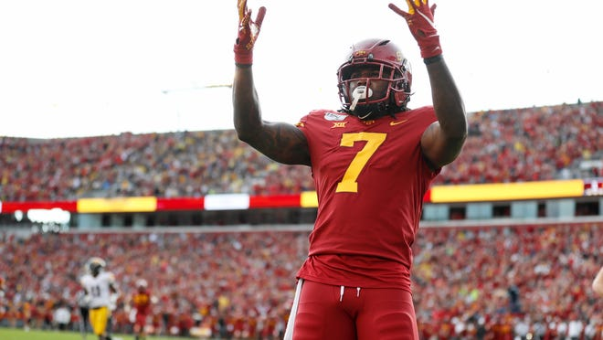 Iowa State wide receiver La'Michael Pettway celebrates after catching a 51-yard touchdown pass during the first half of an NCAA college football game against Iowa, Saturday, Sept. 14, 2019, in Ames, Iowa. (AP Photo/Charlie Neibergall)