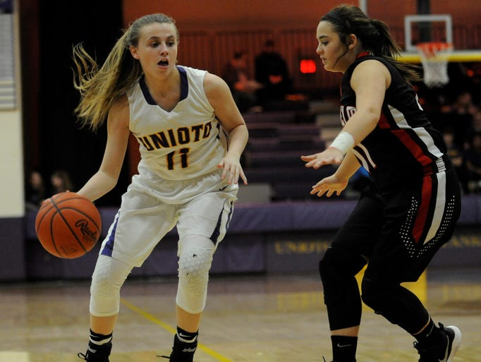 Unioto point guard Emily Coleman looks for an open