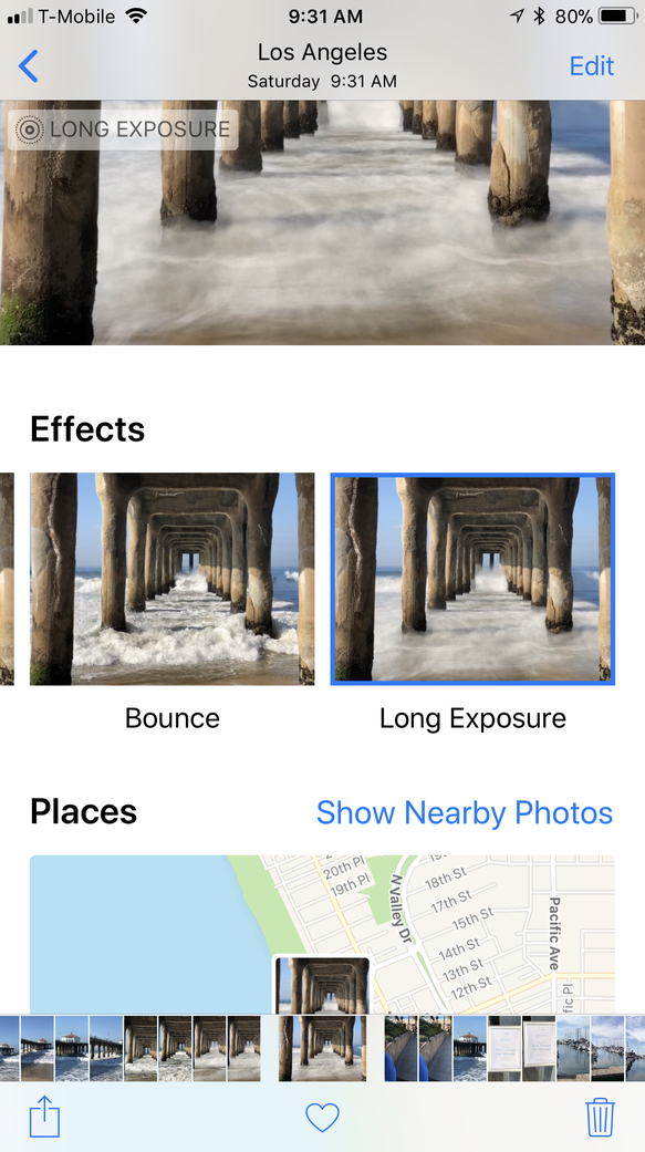 To get Long Exposure on iPhone, take a photo, and swipe