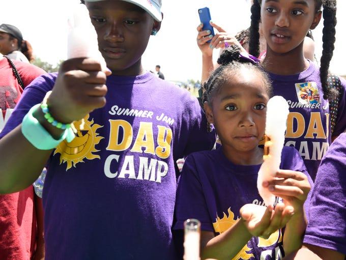 Jade Burnside, 9, left, and Malani May, 7, both of