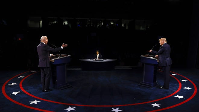 President Donald Trump and Democratic presidential candidate former Vice President Joe Biden participate in the final presidential debate Thursday night at Belmont University in Nashville, Tenn. They sparred over energy and environmental policy toward the end of the debate.