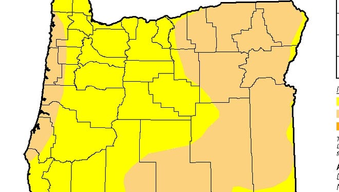 Drought conditions in Oregon as of July 5, 2016.