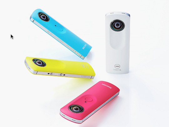 The Ricoh Theta S cameras come in multiple colors,