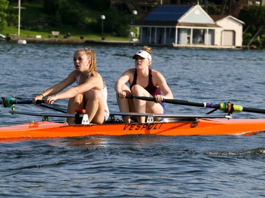 Voorhees sophomore Riley Mills, on left, and Mountain Lakes sophomore Tatiana Infante practice for the 2018 US Rowing Youth National Championships in Gold River, Calif. in Mount Arlington on May 29, 2018.
