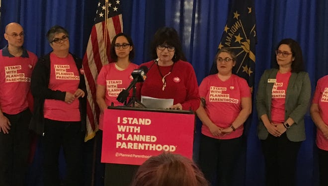 State Rep. Linda Lawson, D-Hammond, spoke in support of Planned Parenthood at the Statehouse on Thursday.