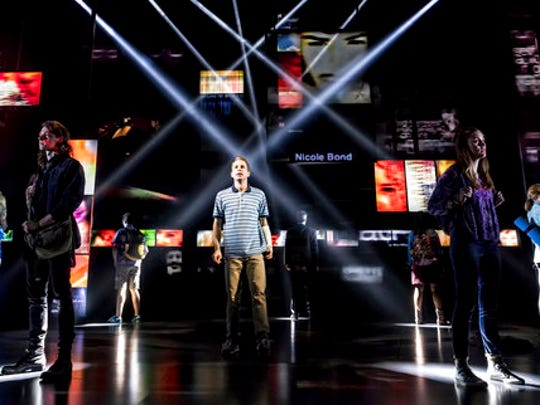 "This image released by O&M/DKC shows Ben Platt, center, during a performance of ""Dear Evan Hansen."" Platt, the star of ""Dear Evan Hansen,"" with songs by Benj Pasek and Justin Paul, the recent Oscar winners for ""City of Stars"" from the movie ""La La Land,"" is a shoo-in for a nomination for best actor in a musical. Tony Award nominations will be announced on Tuesday, May 2, 2017."