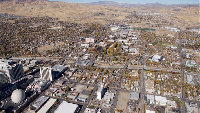 Photo of the Tessera Tourism Improvement District in downtown Reno, between Fifth Street and I-80.