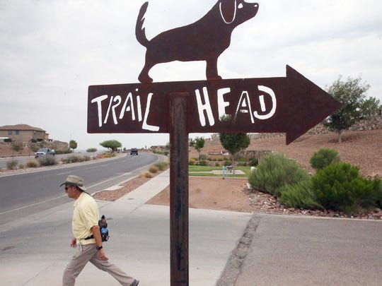 A sign points the way to Lost Dog Trailhead off Northern Pass Drive in West El Paso.