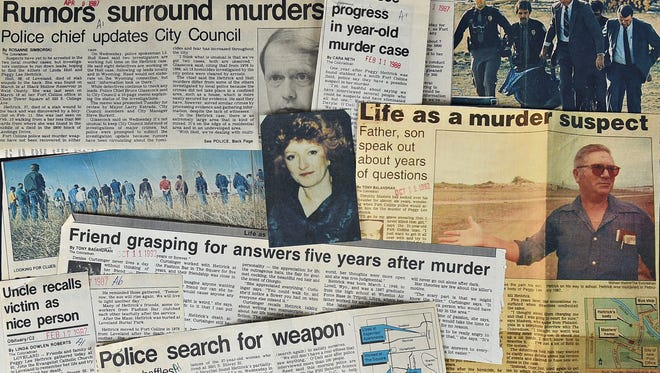 Newspaper clippings record the investigation of Peggy Hettrick's murder.