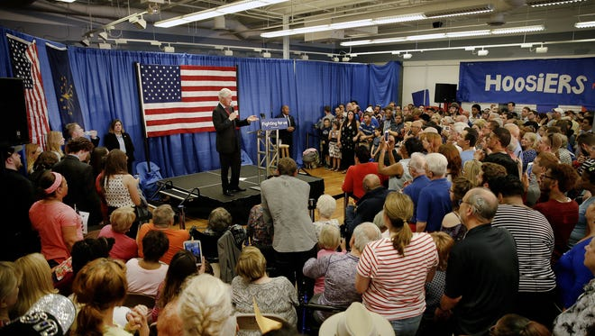 Former President Bill Clinton campaigns for his wife, Hillary Clinton, on Tuesday at the Hillary for Indiana office in Indianapolis.