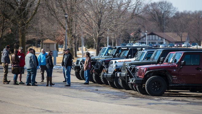 A group of Jeep enthusiasts that call themselves Wisconsin Jeep Owners gather Sunday, March 11, 2018 in Lakeside Park in Fond du Lac. Doug Raflik/USA TODAY NETWORK-Wisconsin