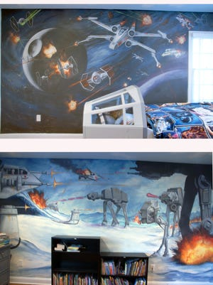 "The two main walls of the ""Star Wars""-themed bedroom painted by artist Mark Romanoski."