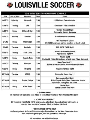 U of L soccer's promotional schedule.