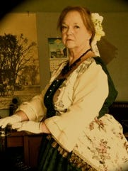 Chris Miller, in costume as Mary Todd Lincoln.