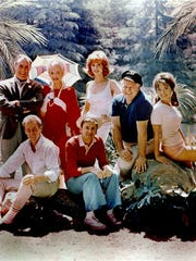 The cast of the 1960s TV series 'Gilligan's Island.'  From left: Jim Backus as Thurston Howell III, Russell Johnson as the Professor, Natalie Schafer as Lovey Howell, Bob Denver as Gilligan, Tina Louise as Ginger, Alan Hale, Jr. as the Captain, Dawn Wells as Mary Ann.  Credit: Warner Home Video.